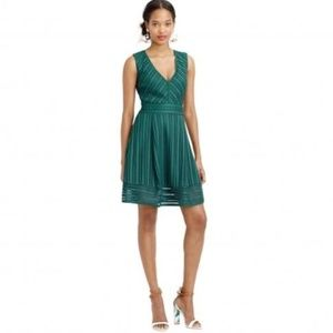 J Crew Forest Green Striped Eyelet Dress